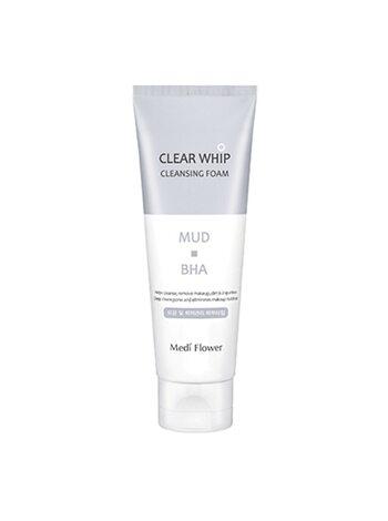MediFlower Пенка для умывания с белой глиной и BHA кислотами - Mud clear whip cleansing foam, 120мл