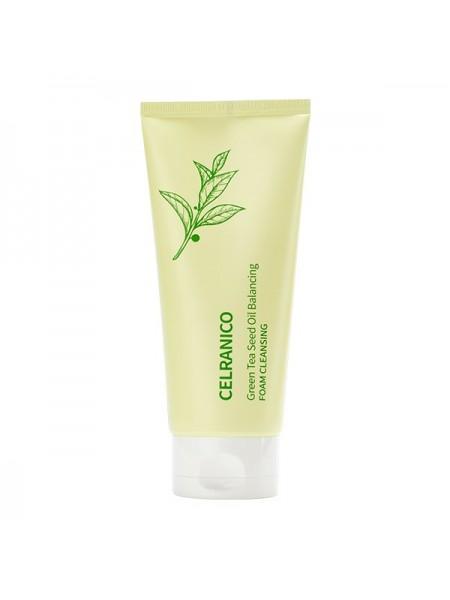 Себорегулирующая пенка с маслом семян зелёного чая CELRANICO Green Tea Seed Oil Balancing Foam Cleansing