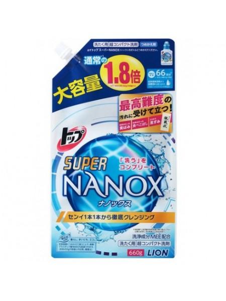 """LION Жидкое средство для стирки """"Top Super NANOX"""", запасной блок, 660 гр"""