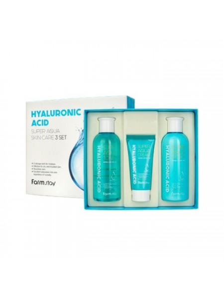 Набор 3 средств с гиалуроновой кислотой FarmStay Hyaluronic Acid Super Aqua Skin Care 3 set