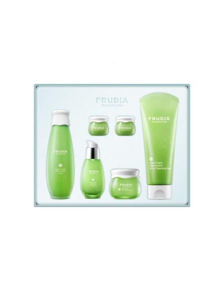 """Подарочный набор «увлажнение, себорегуляция и уход за комбинированной кожей лица с зеленым винорадом"""" Frudia Green Grape Set"""