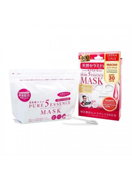 Набор масок с керамидами 30 шт. JAPAN GALS Pure 5 Essence Mask Ceramides 30 pcs