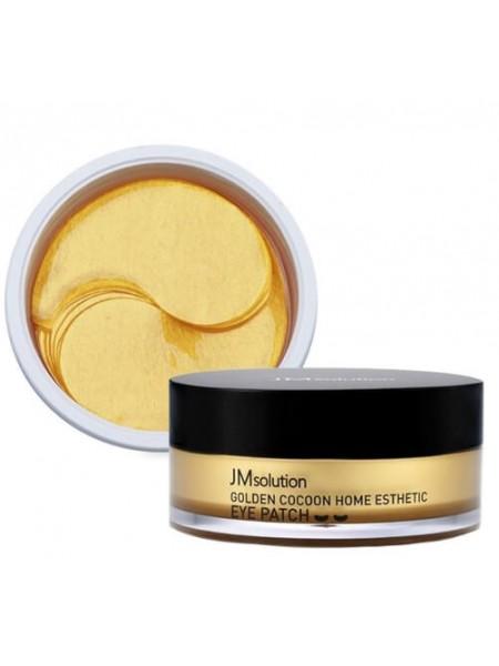 Гидрогелевые патчи с шёлком и золотом JMsolution Golden Cocoon Home Esthetic Eye Patch , 60шт