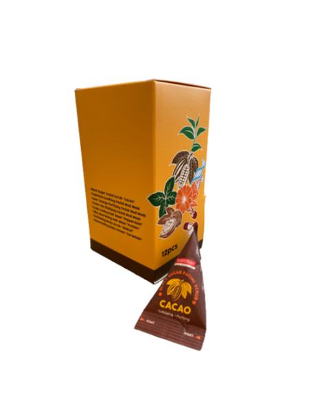 Скраб для лица с какао в треугольниках Purederm Cacao black sugar facial scrub, 12шт*20г