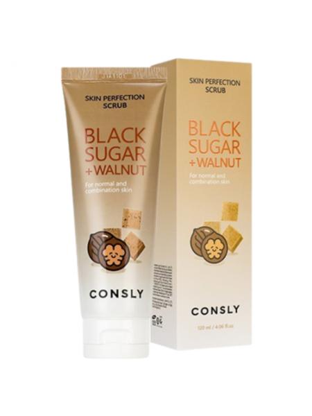 Consly Скраб для лица с черным сахаром и экстрактом грецкого ореха - Black sugar&walnut