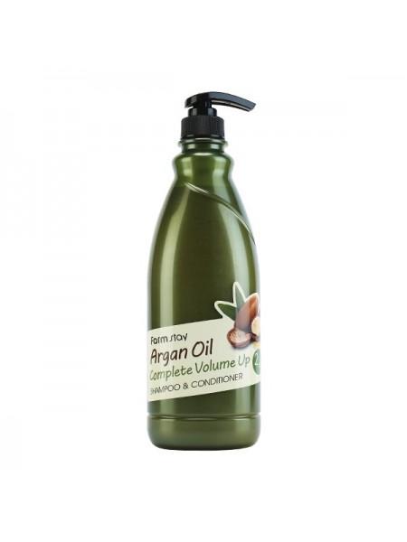 Увлажняющий шампунь+кондиционер с аргановым маслом FarmStay Argan Oil Complete Volume Up Shampoo & Conditioner