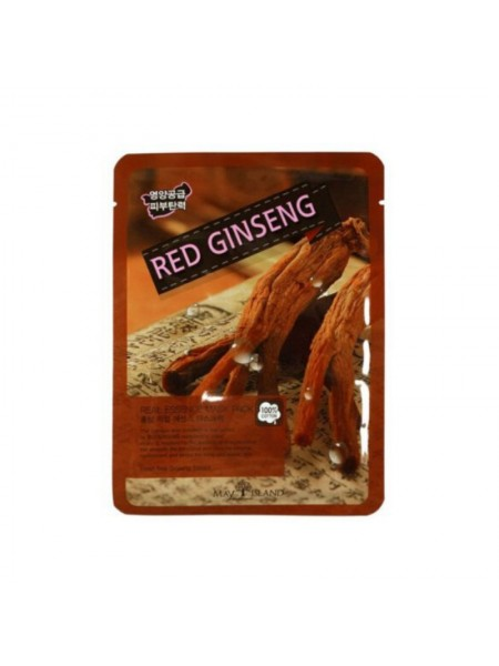 Тканевая маска с женьшенем MAY ISLAND Real Essence Red Ginseng Mask Pack 25мл