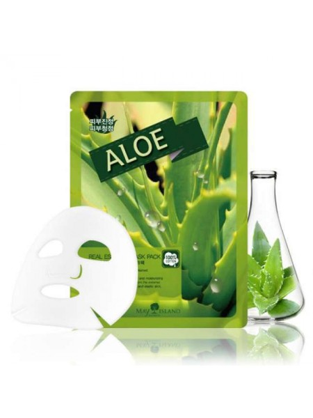 Успокаивающая тканевая маска с алоэ MAY ISLAND Real Essence Aloe Mask Pack