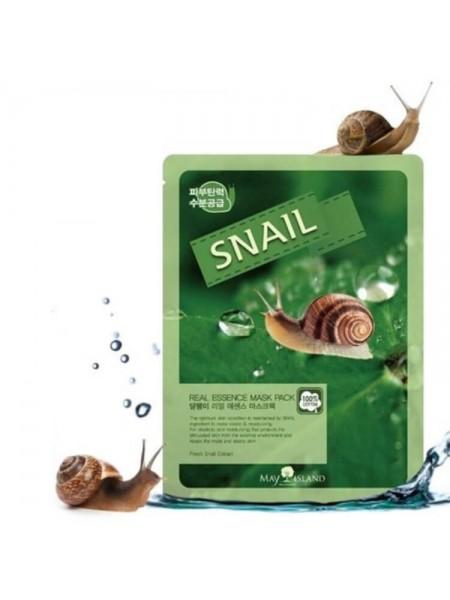 Тканевая маска с улиткой MAY ISLAND Real Essence Snail Mask Pack 25мл