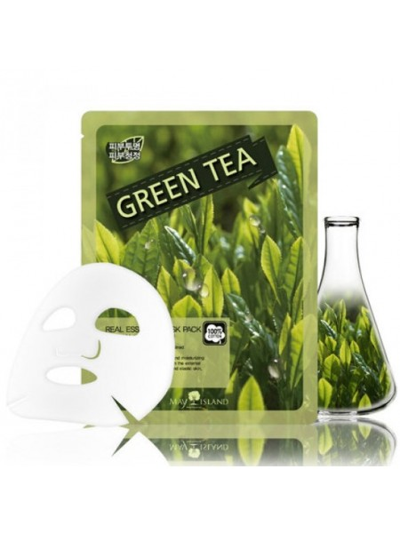 Тканевая маска для лица с зеленым чаем May Island Real Essence Green Tea Mask Pack