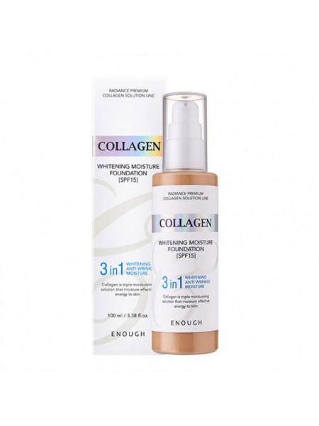 Тональный крем с коллагеном для сияния кожи ENOUGH Collagen 3 in 1 Whitening Moisture Foundation SPF15