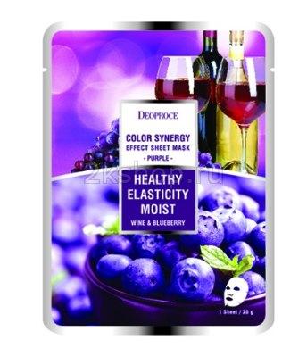 Deoproce Color Synergy Effect Sheet Mask Purple – маска на основе черники и красного вина