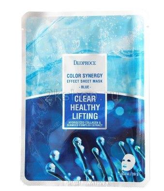Deoproce Color Synergy Effect Sheet Mask Blue – маска с морским коллагеном и экстрактами водорослей