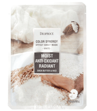 Deoproce Color Synergy Effect Sheet Mask White – маска с маслом ши и рисовой водой