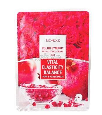Deoproce Color Synergy Effect Sheet Mask Red – маска с экстрактами граната и лепестков роз