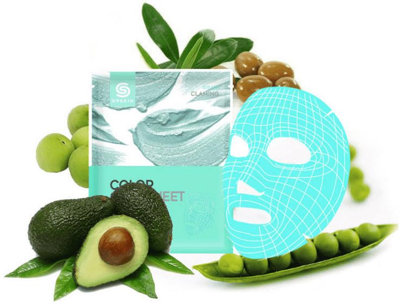 Berrisom G9SKIN Color Clay Sheet- Calming Green Успокаивающая глиняная листовая маска для лица