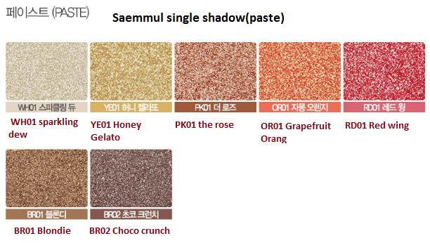 The Saem Saemmul single shadow(paste)  Тени для век кремовые