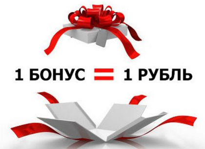 бонусные баллы 1 балл=1 рубль